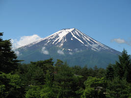 Mount Fuji through the trees by archaemic