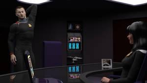 Captain Baris briefs her new XO by ashleytinger