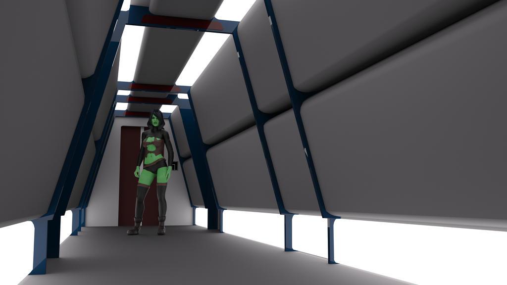 Destroyer Radial Corridor Render Test by ashleytinger