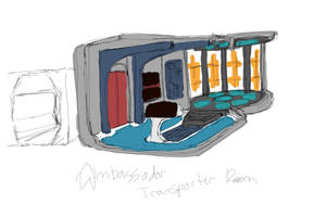 Ambassador Transporter Room Sketch by ashleytinger