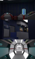 23 Century Transporter Buffer, Lounge and Corridor