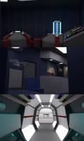 23 Century Transporter Buffer, Lounge and Corridor