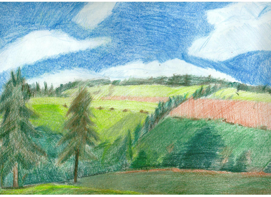Art Scenery Drawing Color Pencil