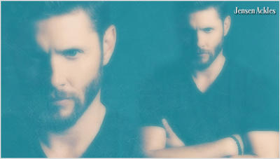 Jensen Ackles Black T-Shirt/Beard V2 by RoseAcklesWinchester