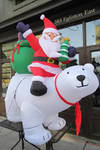 Inflatable Santa Riding a Polar Bear