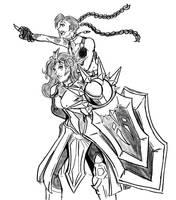 Leona and Jinx by Cheshireviqq