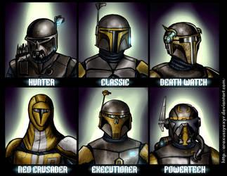 Mandalorian helmets by AraxussYexyr
