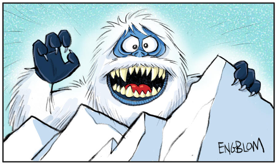 Clipart of a Cartoon Yeti Abominable Snowman Waving ...