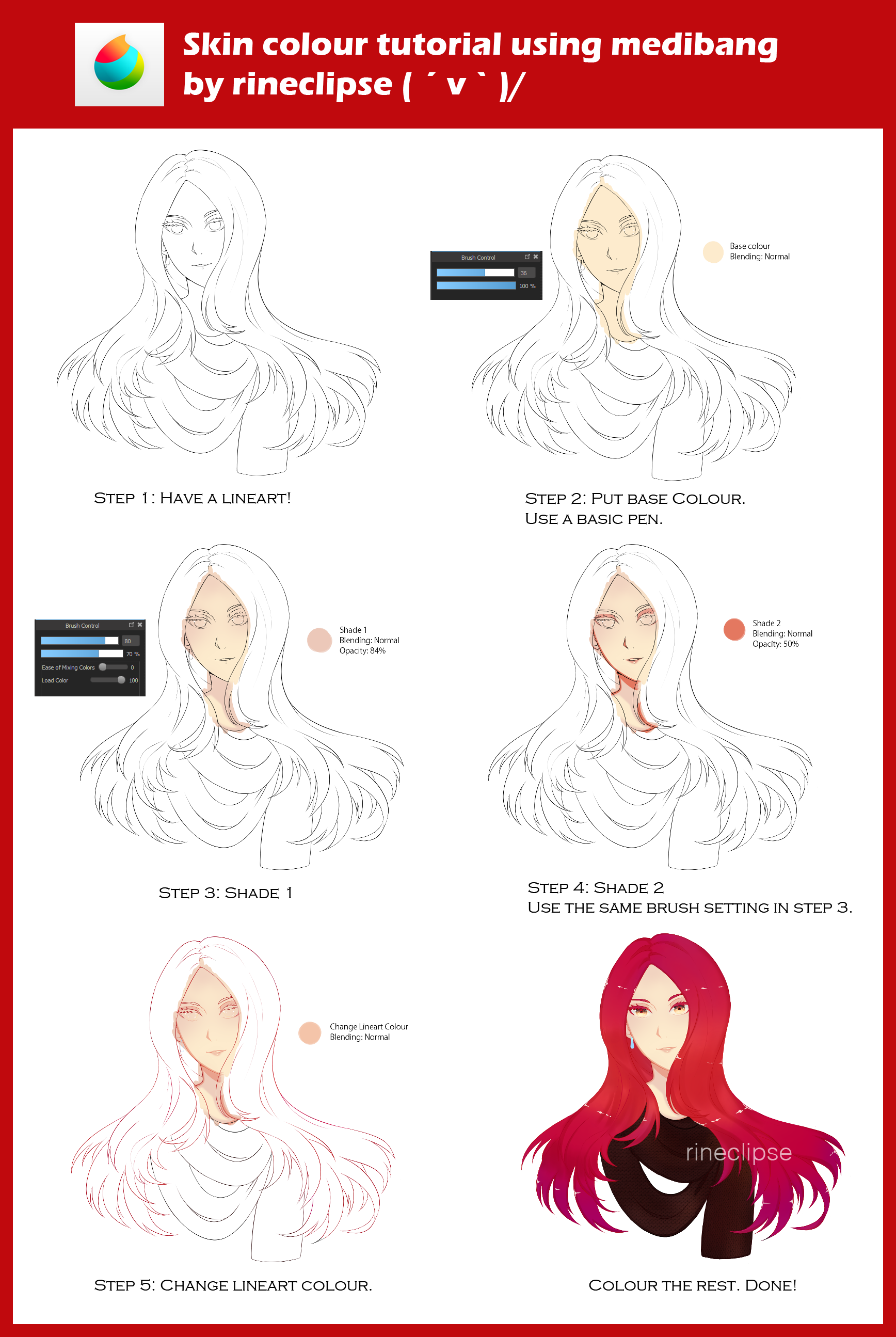 Skin Colour Tutorial Using Medibang By Rineclipses