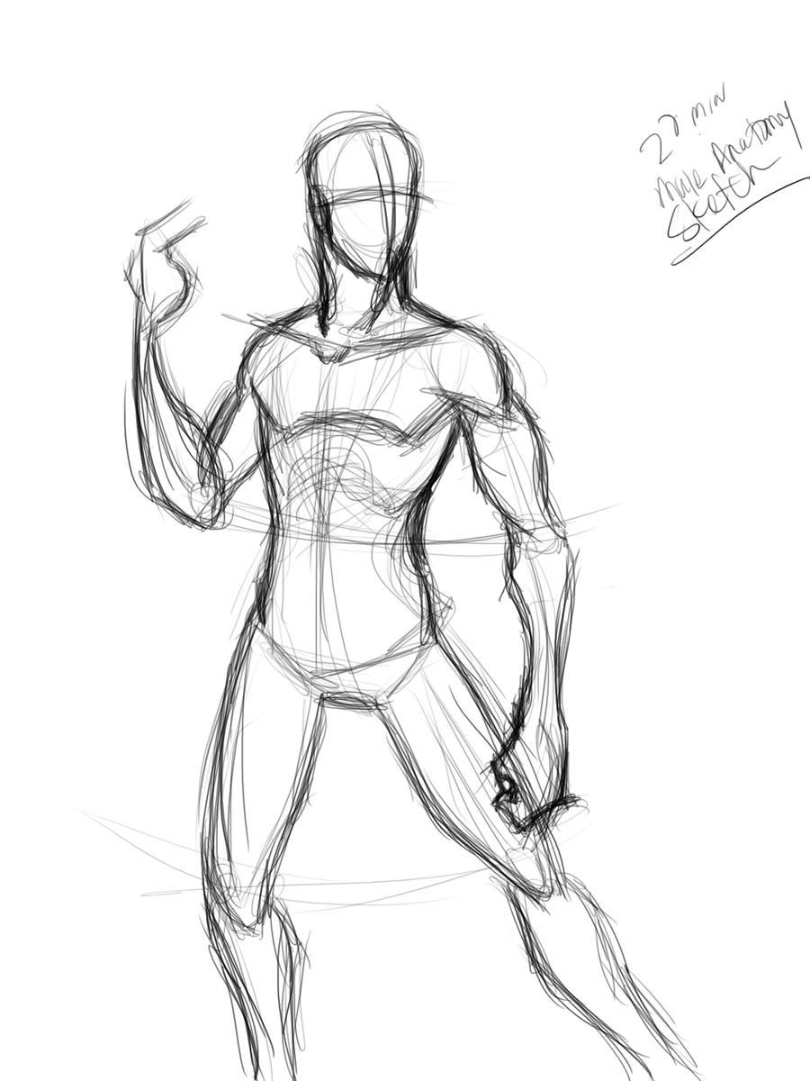 20 min male anatomy sketch by Mister-Grimm on DeviantArt