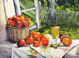 Apples on the window-sill by methosw