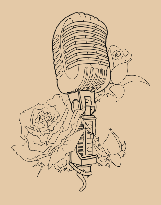 vintage mic with roses lineart by skykittens on deviantart. Black Bedroom Furniture Sets. Home Design Ideas