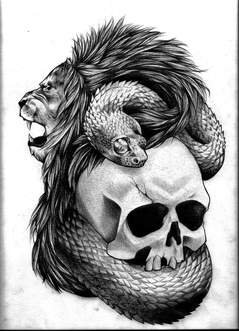 Lion by coconut cocacola on deviantart for Lion skull tattoo