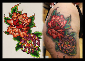 Peony Chrysanthemum Tattoo