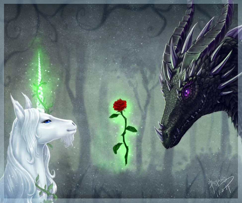 Dragon and Unicorn by begasuslu