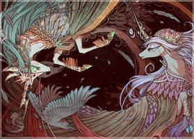 Epona and Morrigan by BegasusTiuBe