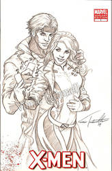 Rogue and Gambit sketch by VinRoc