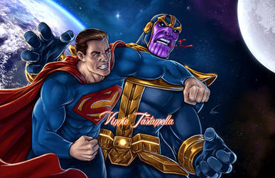 Superman vs Thanos by VinRoc