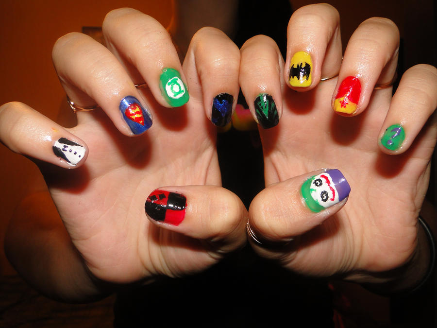 DC Comics Nails by KariInlove on DeviantArt