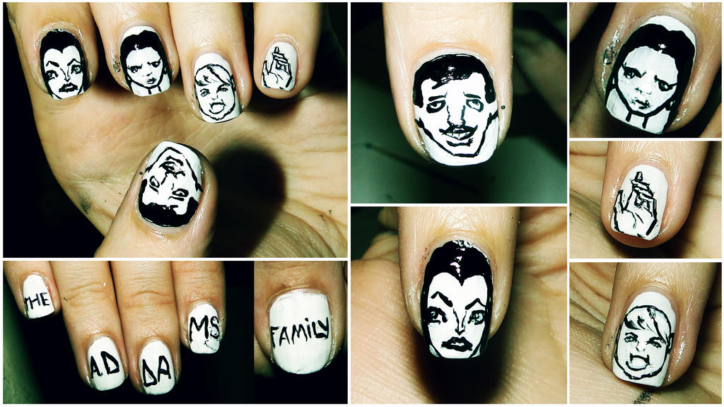 The Addams Family Nail Art. by KariInlove on DeviantArt