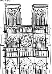 Canvas Tutor Challenge Draw a building NOTRE DAME by KiriaEternaLove