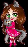 Cute Chibi Cat Girl with Kitten (Kiria EternaLove) by KiriaEternaLove