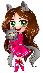 Cute Chibi Cat Girl with Kitten (Kiria EternaLove) by KiriaEternaLove