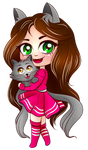 Cute Chibi Cat Girl with Kitten (Kiria EternaLove)