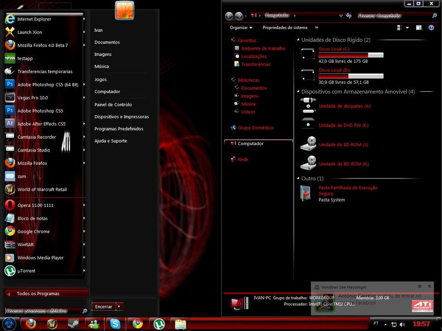 Red And Black Windows 7 Themes WINDOWS7 THEME-ATI DARK EDITIO