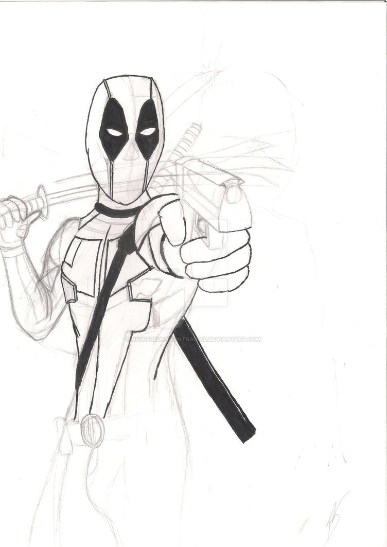 DEADPOOL Sketch 'Are you talking with me?' by NickTheDragonTrainer