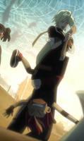 Haruka holding Dan upside down 2