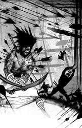 pirate vs ninja by TomKellyART