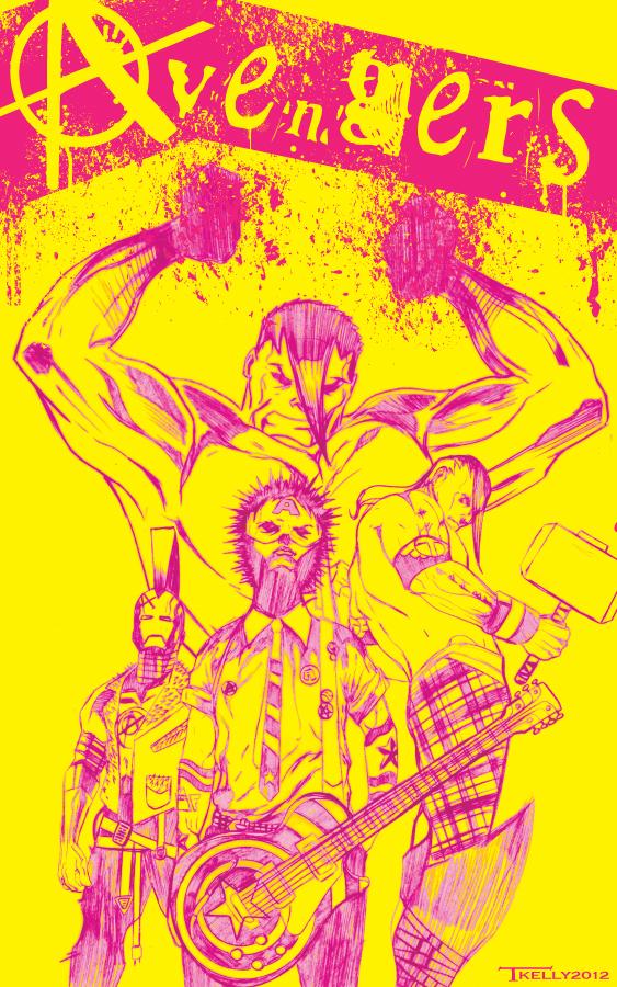 punk Avengers by artist Tom Kelly by TomKellyART