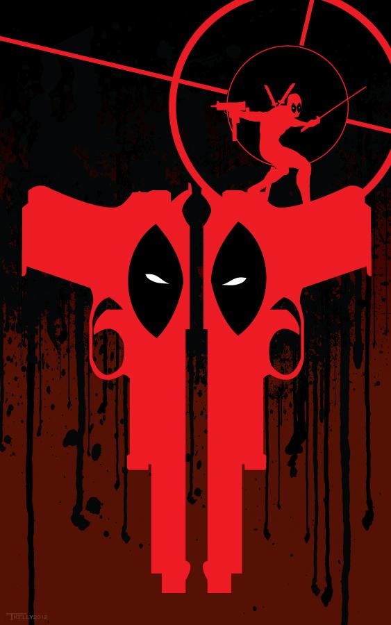 Two gun Deadpool by artist Tom kelly by TomKellyART