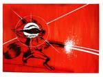 Red Rocket Raccoon by artist Tom Kelly