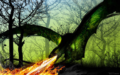 The Deadfall Dragon by artist Tom Kelly