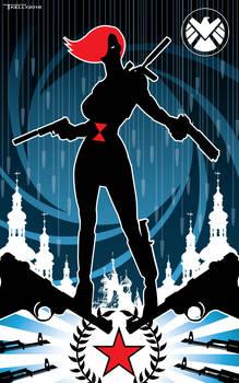 Black Widow Red Star by artist Tom Kelly