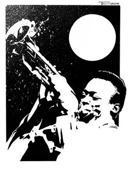 Miles Davis Wailing by artist Tom Kelly