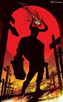 Hellboy Cross Road by artist Tom Kelly