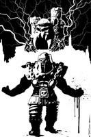 inktober-2021 Ram Man Rage by Tom Kelly