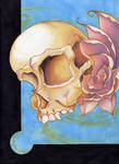 skull and roses colored