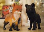 Safari LTD. Red and Melanistic Fox figures