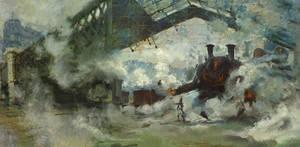 Saint Lazare station with Battle Mechanoids by Art-Calavera