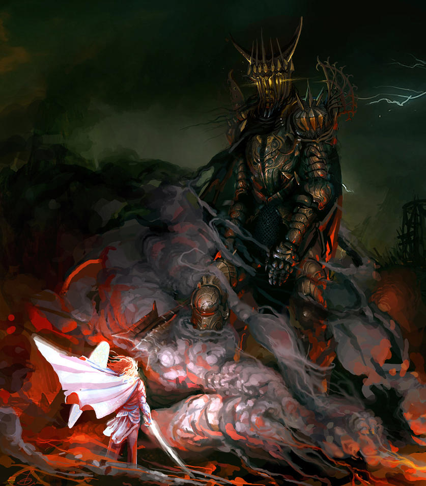 Morgoth and Fingolfin ... by Calavera666