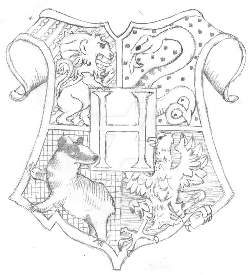 D Line Drawings Ikea : Hogwarts crest lineart by themagicianlord on deviantart