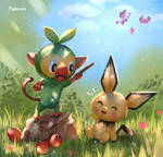 New Pokemon Snap - Grookey And Pichu by Pigliicorn
