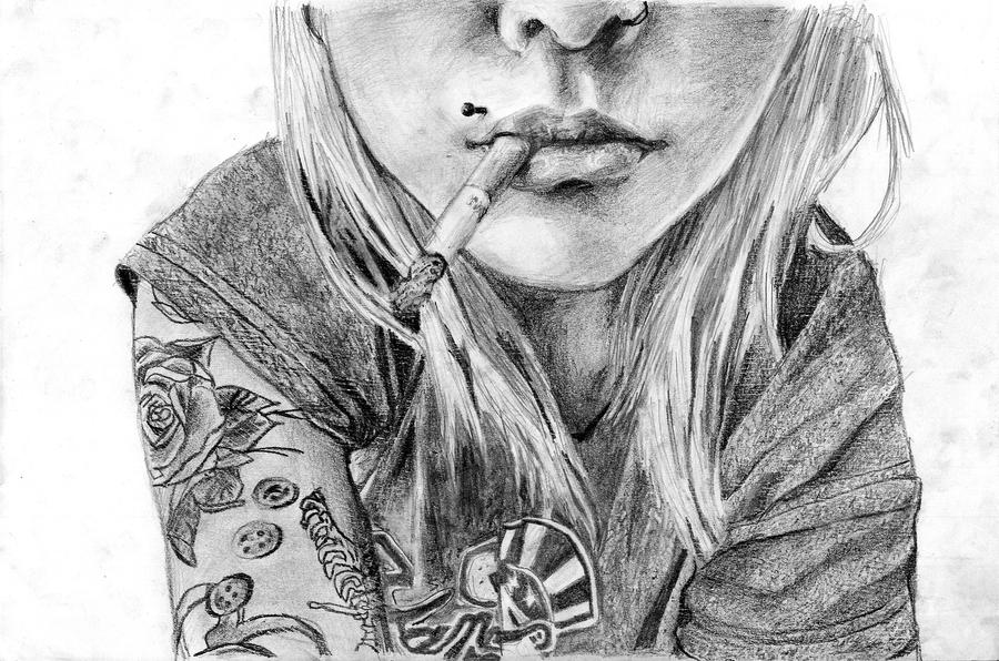 Girl, smoking by ThisChaos on DeviantArt