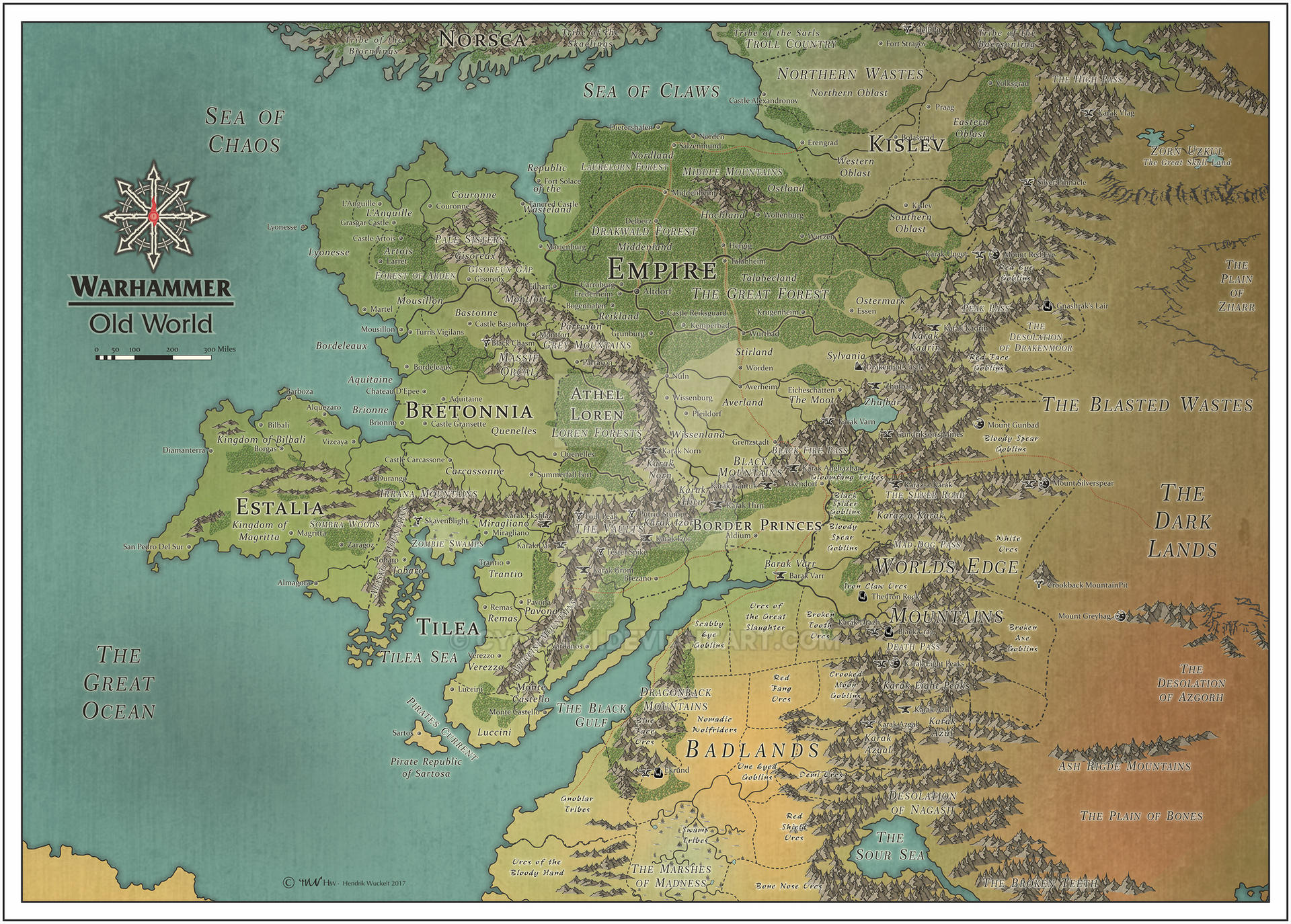 Old World Map Warhammer Warhammer   Old World   Color by Cyowari on DeviantArt