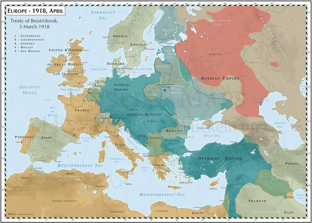 Europe - 1918, April - Treaty of Brest-Litovsk by Cyowari on DeviantArt