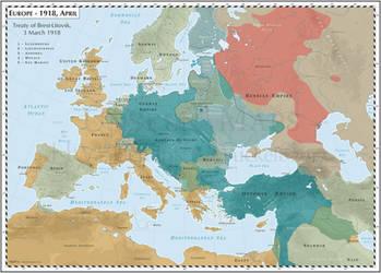 Europe - 1918, April - Treaty of Brest-Litovsk by Cyowari